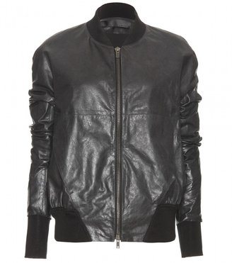 Haider Ackermann LEATHER JACKET WITH FABRIC INSERTS
