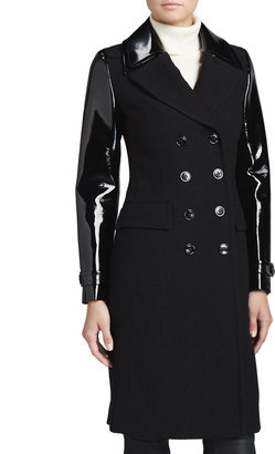 Burberry Mohair-Blend Patent-Sleeve Military Coat