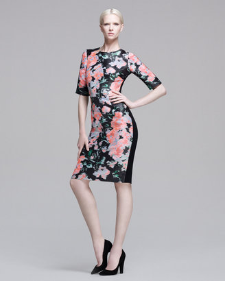 Erdem Floral Jacquard Half-Sleeve Dress, Black/Peach