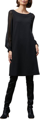 Lafayette 148 New York Linden Sheer-Sleeve Punto Milano Shift Dress
