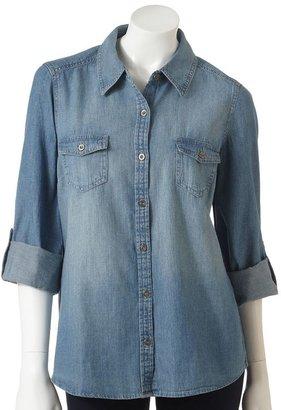 Sonoma life + style ® roll-tab chambray camp shirt