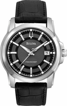 Bulova Precisionist Mens Black Leather Watch