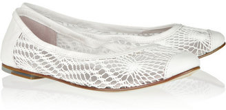 Bloch Crochet-knit and leather ballet flats