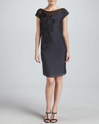 Elie Tahari Darlene Asymmetric-Detail Shift Dress