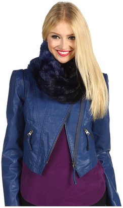 Steve Madden Ombre Mink Rouched Neckgator (Black/Royal) - Accessories