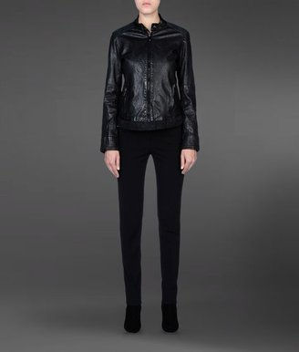 Emporio Armani Leather Jacket With Suede Details