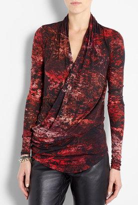 Helmut Lang Midnight Floral Drape Jersey Top
