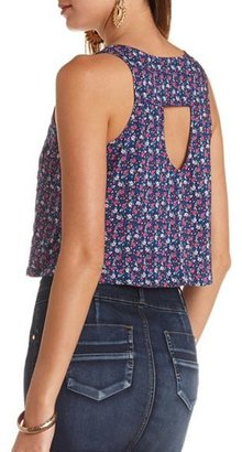 Charlotte Russe Button-Up Printed Swing Crop Top