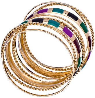 Blu Bijoux Set of Eight Gold and Multicolored Bangle Bracelets