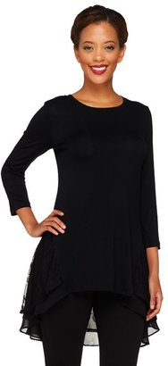 Logo by Lori Goldstein Knit Top with Embroidered Mesh Detail
