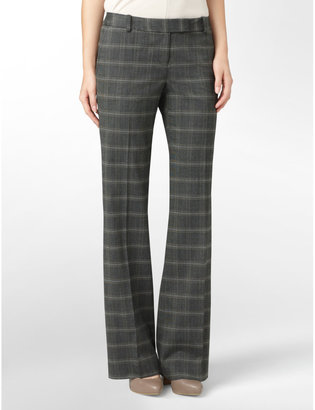 Calvin Klein Womens Plaid Wide Leg Suit Pants