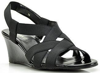VANELi Lakia - Black Elastic Wedge Sandal