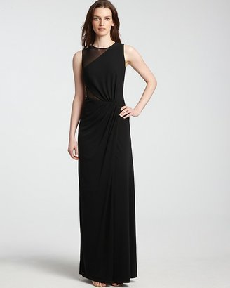 Halston Sheer Contrast Gown
