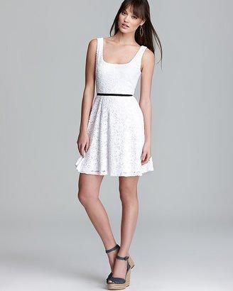 Aqua Skater Dress - Knit Lace Contrast Waist