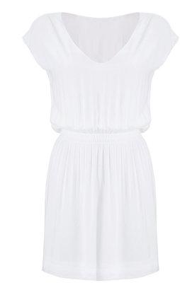 James Perse White Elastic Waist Kimono Dress