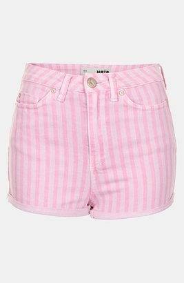 Topshop Moto 'Poppy' Overdyed Stripe Shorts Pink 8