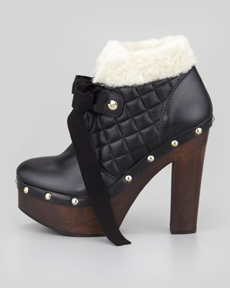 RED Valentino Shearling-Trim Ankle Boot