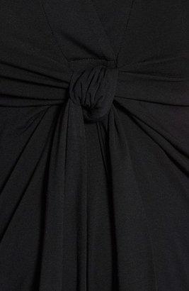 Olian Split Neck Tie Front Maternity Top
