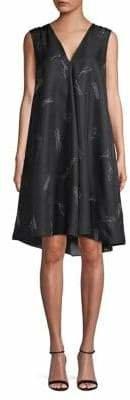 Theory Printed Silk A-Line Dress