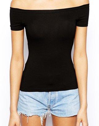 Asos TALL Bardot Neckline Top With Short Sleeves