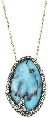 Alexis Bittar Cordova Gold & Antique Rhodium Small Turquoise Pendant
