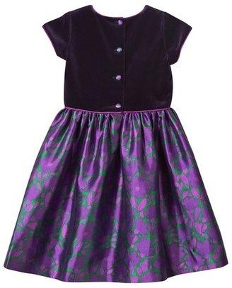 Oscar de la Renta Purple Velvet and Floral Print Dress