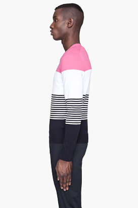 DSquared DSQUARED2 Pink Colorblocked V-Neck sweater