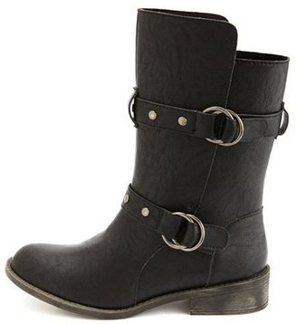 Charlotte Russe Studded Strap Motorcycle Bootie