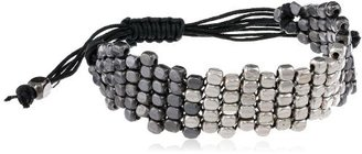 "Kenneth Cole New York ""Metal Boost"" Silver and Hematite Mesh Bead Friendship Bracelet, 7.5"""