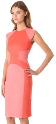 Lela Rose Tonal Block Sheath Dress