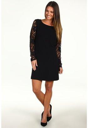 BCBGeneration Contrast Sleeve Shift Dress (Black) - Apparel