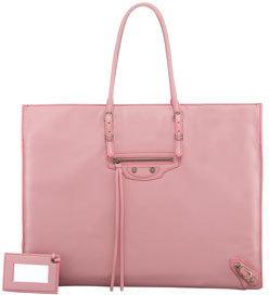 Balenciaga Papier A4 Leather Tote Bag, English Rose