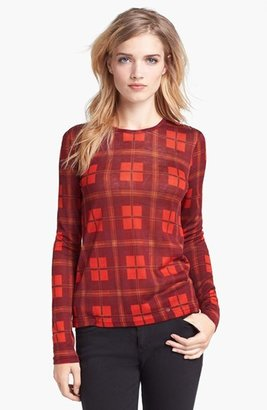 Marc by Marc Jacobs Sheer Plaid Tee Corvette Red Multi X-Small
