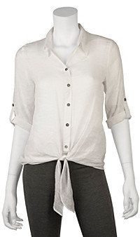 Amy Byer A Byer A. Byer Juniors' Roll Sleeve Gauze Shirt