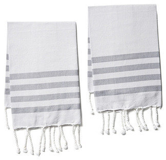 S/2 Striped Hand Towels, Gray