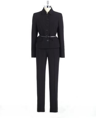Anne Klein Six-Button Belted Pants Suit