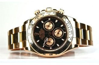 excellent (EX) Rolex 18k Rose Gold Daytona Cosmograph Watch with Black Face