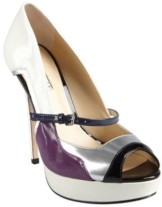 Charles David white and plum patent leather colorblock 'Tasset' pumps