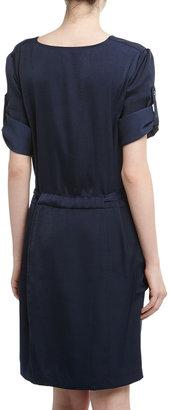 BCBGMAXAZRIA Alex Cowl Neck Drawstring Satin Dress, Dark Ink