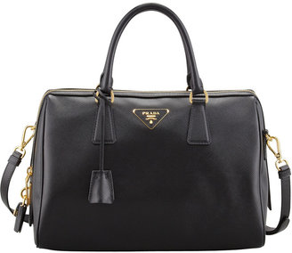 Prada Saffiano Bowler Bag with Strap, Black (Nero)