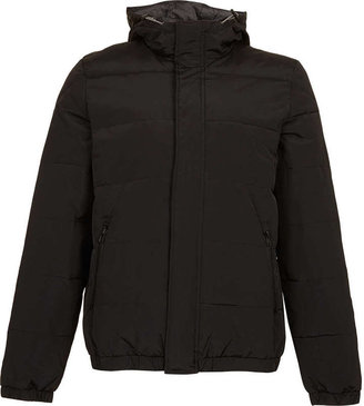 Topman Black Hooded Quilted Bomber Jacket