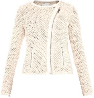 IRO Miali leather-trim mesh-knit jacket
