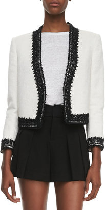 Alice + Olivia Amaya Embroidered-Trim Blazer