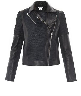 Helmut Lang Leather jacquard crop biker jacket