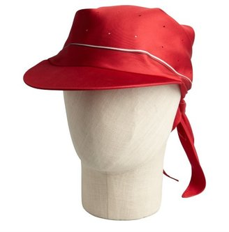 Hermes red silk cap with scarf