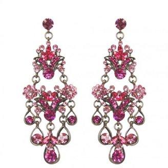 Aftershock Womens Pink Jewelled Drop Earrings