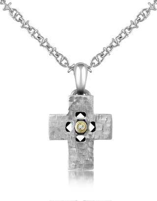 Forzieri Diamond and Hammered Stainless Steel Cross Pendant Necklace