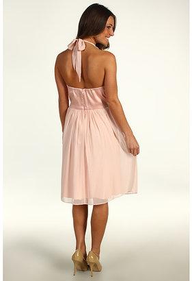 Donna Morgan Vivian Chiffon Halter Combo Waist Dress