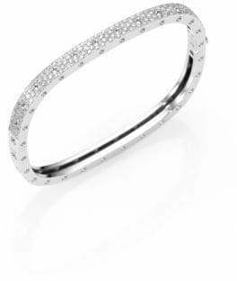 Roberto Coin Pois Moi Pavé Diamond & 18K White Gold Single-Row Bangle Bracelet
