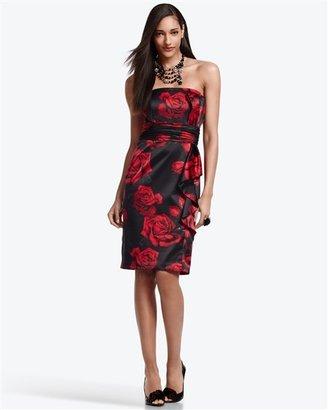 White House Rose Print Satin Dress